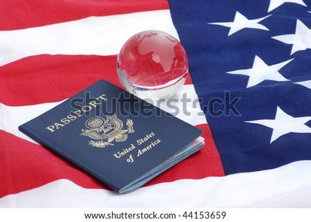 USA passport and the globe - stock photo