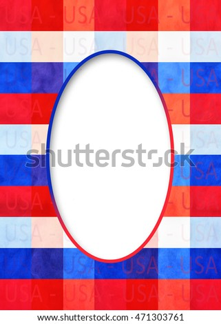 USA Patriotic red, white and blue plaid background with oval insert in white for text.