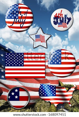 usa patriotic template with badges