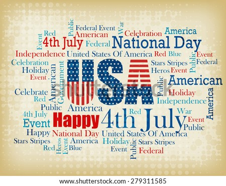 USA patriotic 4th of July word cloud / tagcloud on brown grunge halftone background  - stock photo
