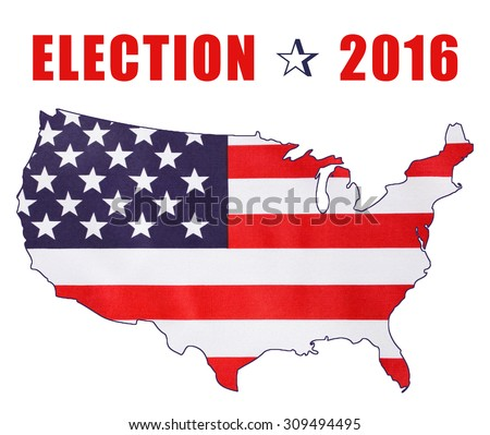 USA 2016 Presidential Election with image of Stars and Stripes in outline of the American map on white background with sample text.  - stock photo