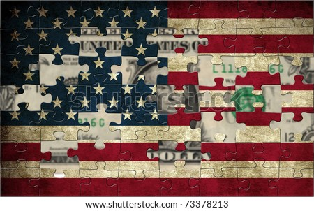 USA puzzle flag - stock photo
