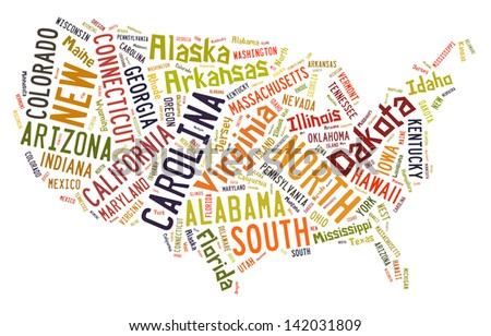 USA puzzle of words by States of the United States of America