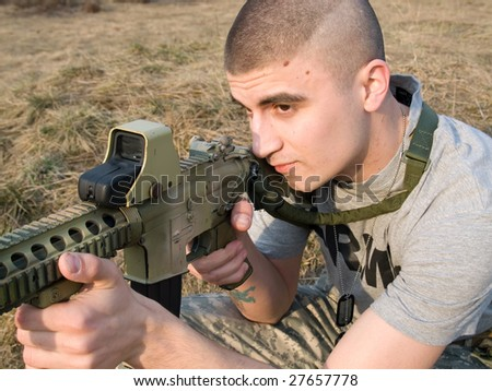 USA Soldier practicing shooting