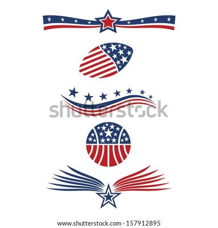 USA star flag icon design elements - stock photo