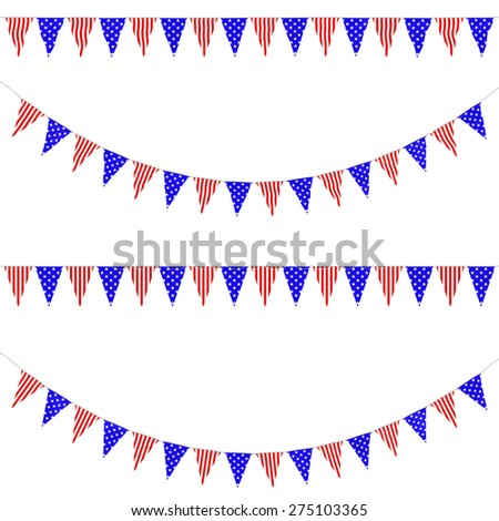 USA Stars and Stripes Red White and Blue Bunting Collection: 3D reflection and flat orthographic textures - stock photo