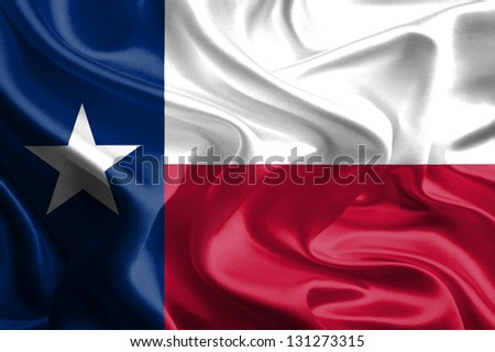 USA State Flags: Waving Fabric Flag of Texas - stock photo