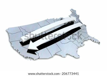 USA States East West - stock photo