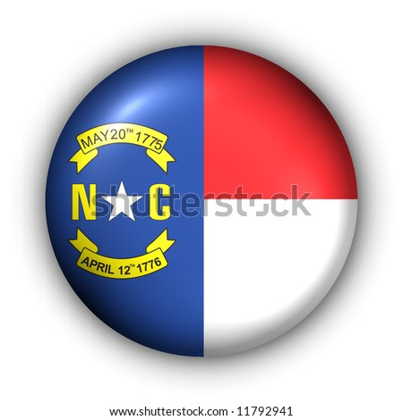 USA States Flag Button Series - North Carolina (With Clipping Path)