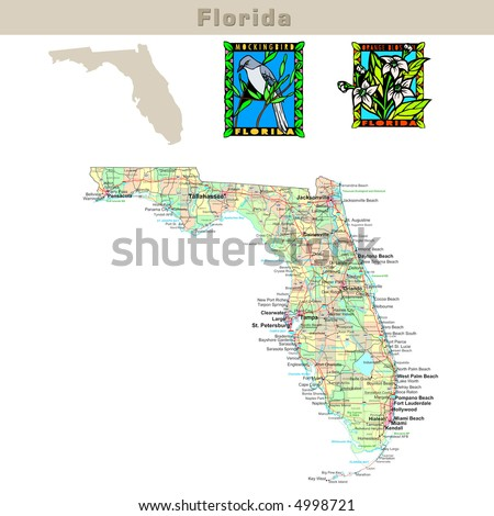 USA states series: Florida. Political map with counties, roads, state's contour, bird and flower