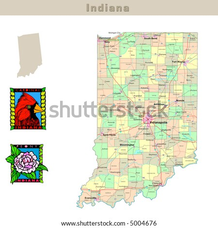 Indiana Map Stock Images RoyaltyFree Images Vectors Shutterstock - Indiana political map