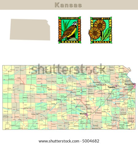 Kansas Road Map Stock Images RoyaltyFree Images Vectors - Road map of usa states