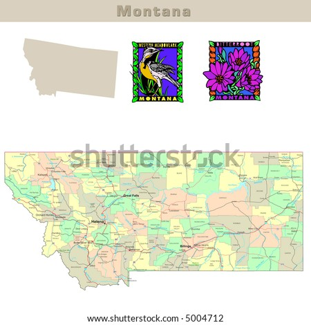 Quotmontana Roadquot Stock Images RoyaltyFree Images - Montana political map