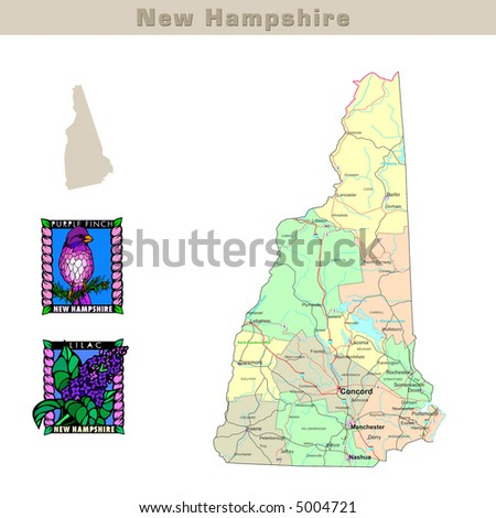 New Hampshire State Map Stock Images RoyaltyFree Images - Usa map new hampshire