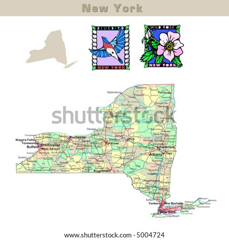 USA states series: New York. Political map with counties, roads, state's contour, bird and flower - stock photo