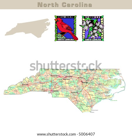 USA states series: North Carolina. Political map with counties, roads, state's contour, bird and flower