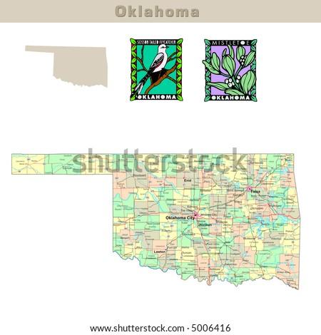 Oklahoma Map Stock Images RoyaltyFree Images Vectors - Oklahoma counties road map usa