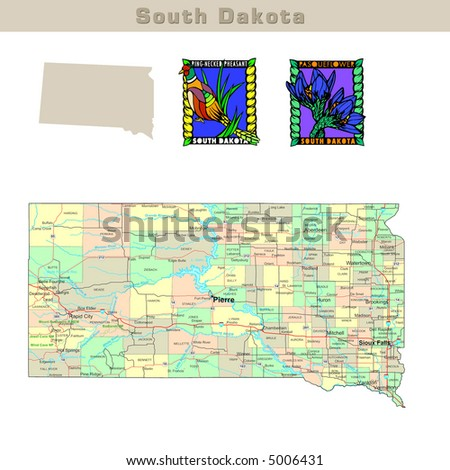 South Dakota Map Stock Images RoyaltyFree Images Vectors - Political map of south dakota