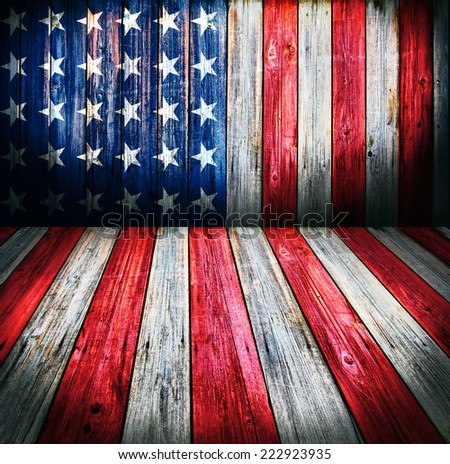 USA style background - empty wooden room for display montages - stock photo