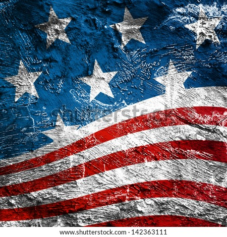 USA style background on old grunge wall - stock photo