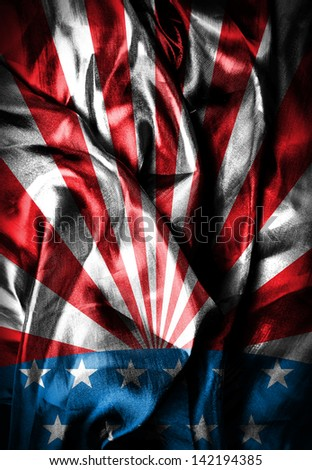 USA style background on wavy silk material - stock photo