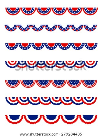 USA 4th of july Patriotic , National day border / frames / bunting collection for USA  - stock photo