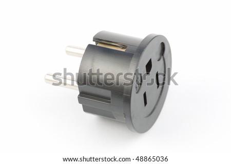 USA to European electrical plug adaptor - stock photo