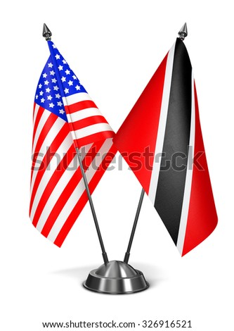 USA,  Trinidad and Tobago - Miniature Flags Isolated on White Background. - stock photo