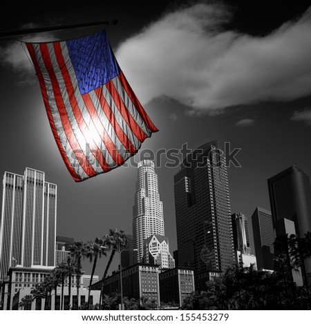 USA United States flag in black and white LA downtown skylines - stock photo