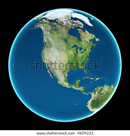 USA view from space - stock photo
