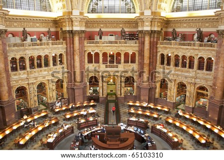 USA, Washington, DC. Reading room Scientific Library of Congress (Library of Jefferson) - stock photo