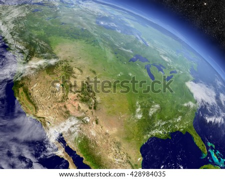 USA with surrounding region as seen from Earth's orbit in space. 3D illustration with highly detailed realistic planet surface and clouds in the atmosphere. Elements of this image furnished by NASA. - stock photo