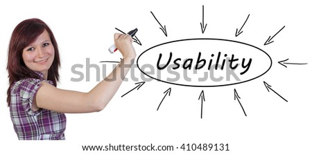 Usability - young businesswoman drawing information concept on whiteboard.  - stock photo
