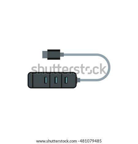 USB adapter connectors icon in flat style on a white background