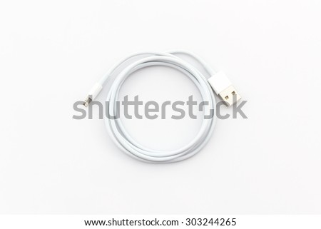 USB cable for smartphone on white background. - stock photo