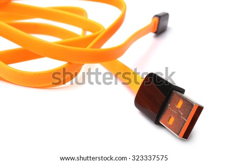 USB Cable on white background - stock photo