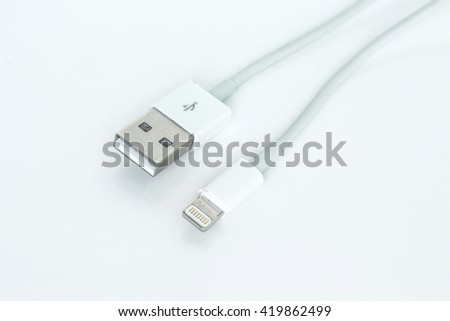 usb cable port charger on white background