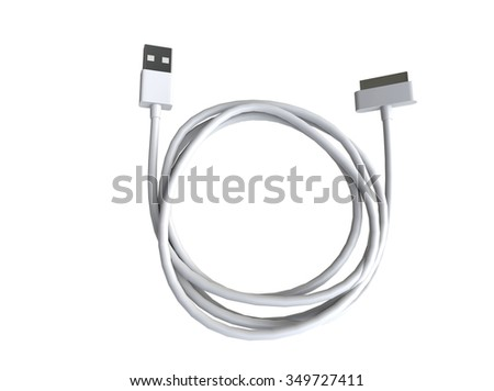 Usb cable - top view on white background, ideal for digital and print design. - stock photo