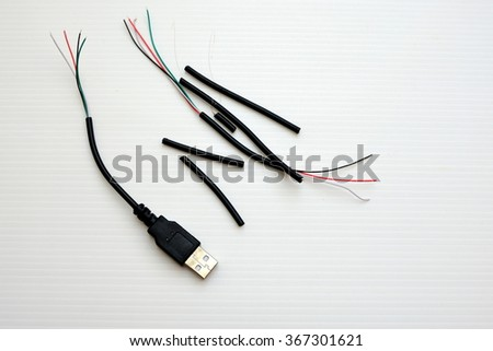 USB Cable with peeled wiring