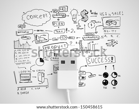 usb conect with business strategy  on a white background