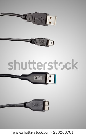 USB connection cord isolated on white - stock photo