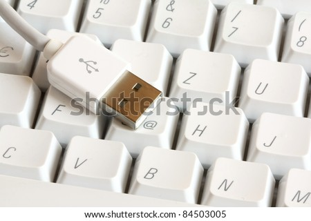 USB connector on a white computer keyboard - stock photo