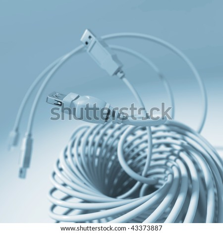 USB connectors (cable) - stock photo