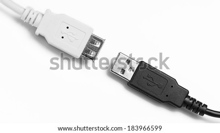 USB Connectors male and female. - stock photo