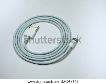 USB Cord For Mobile Phone on White Background