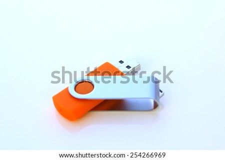 usb drive isolated on a white background - stock photo