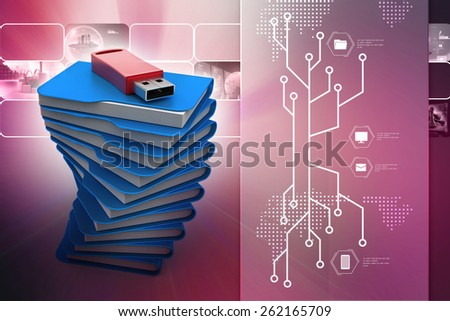 Usb drive with file folder - stock photo