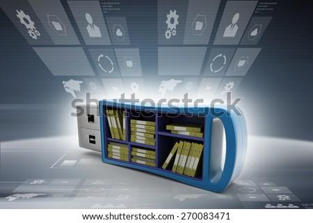 Usb drive with file folder - stock photo