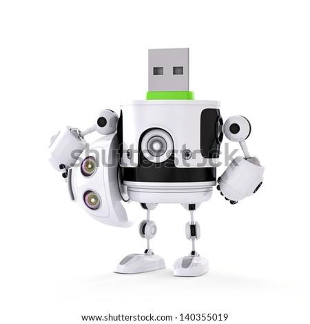 USB droid. Digital storage concept - stock photo