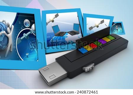 usb flash drive and books - stock photo